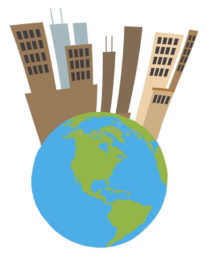 Высокорослый город na górze глобуса иллюстрация вектора