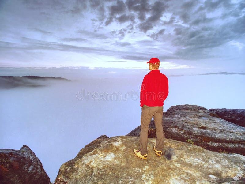 Высокорослый парень с руками в карманн в голубом положении рубашки и наблюдает горизонт стоковое фото