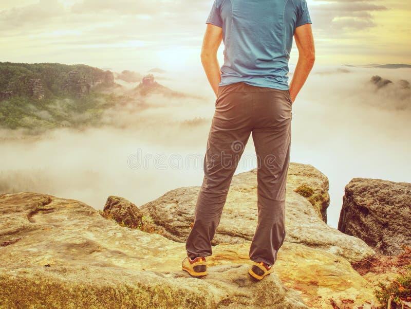 Высокорослый парень с руками в карманн в голубом положении рубашки и наблюдает горизонт стоковые фотографии rf