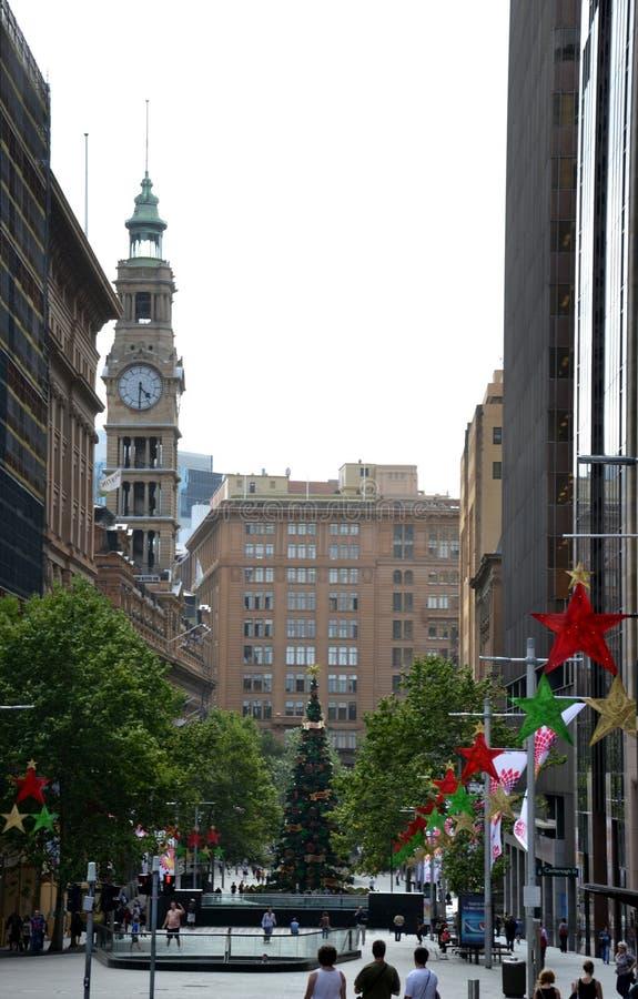Высокорослая внешняя рождественская елка с украшением стоковые фотографии rf