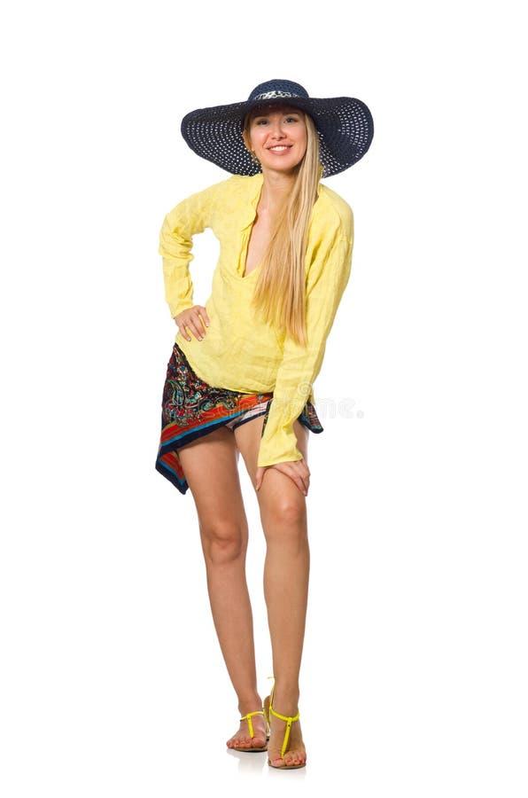 Высокорослая кавказская модельная нося шляпа изолированная на белизне стоковые изображения