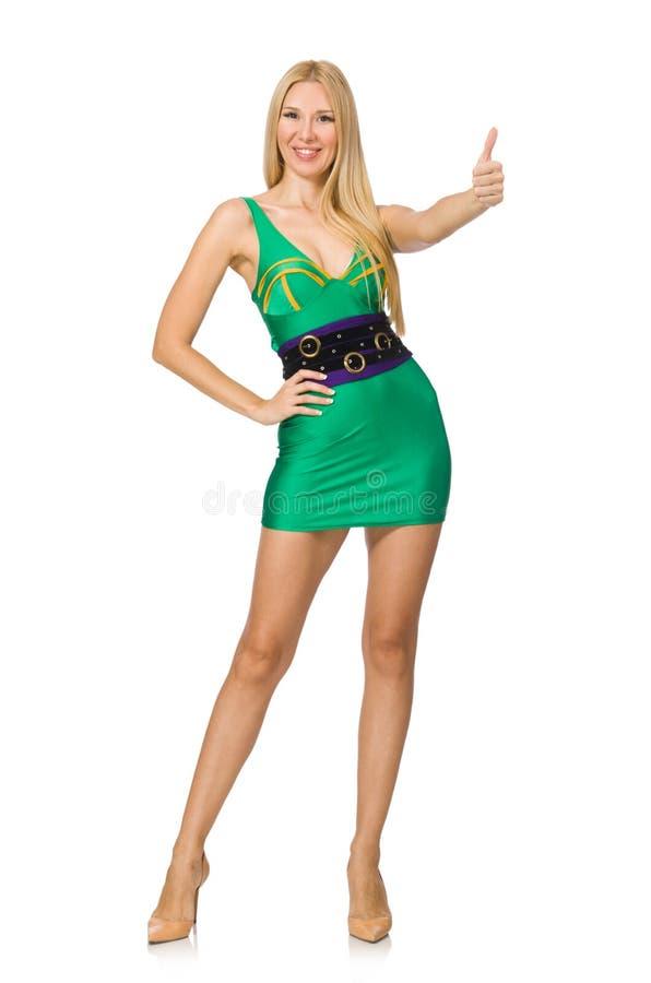 Высокорослая модель в мини зеленом платье стоковая фотография rf