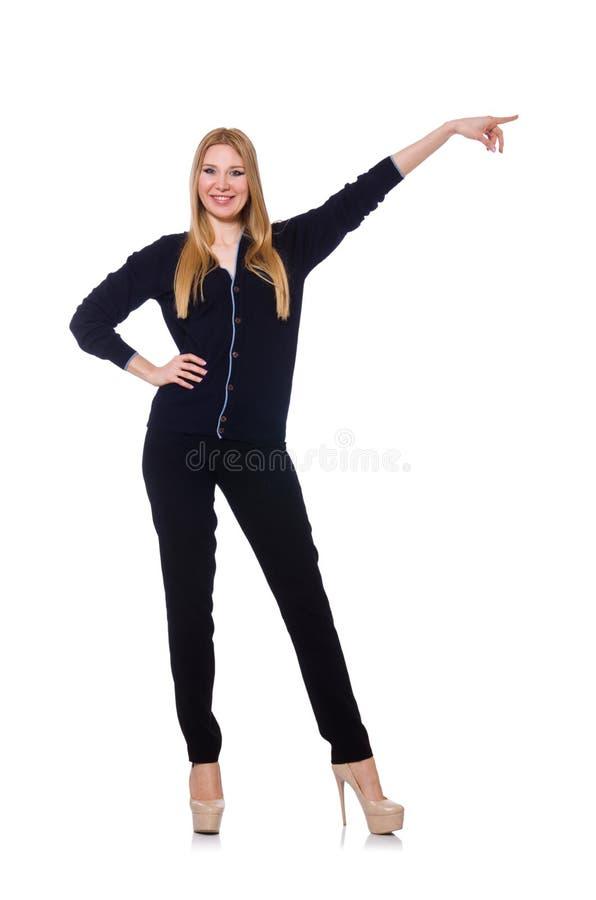 Высокорослая молодая женщина в черной одежде изолированной дальше стоковые фотографии rf
