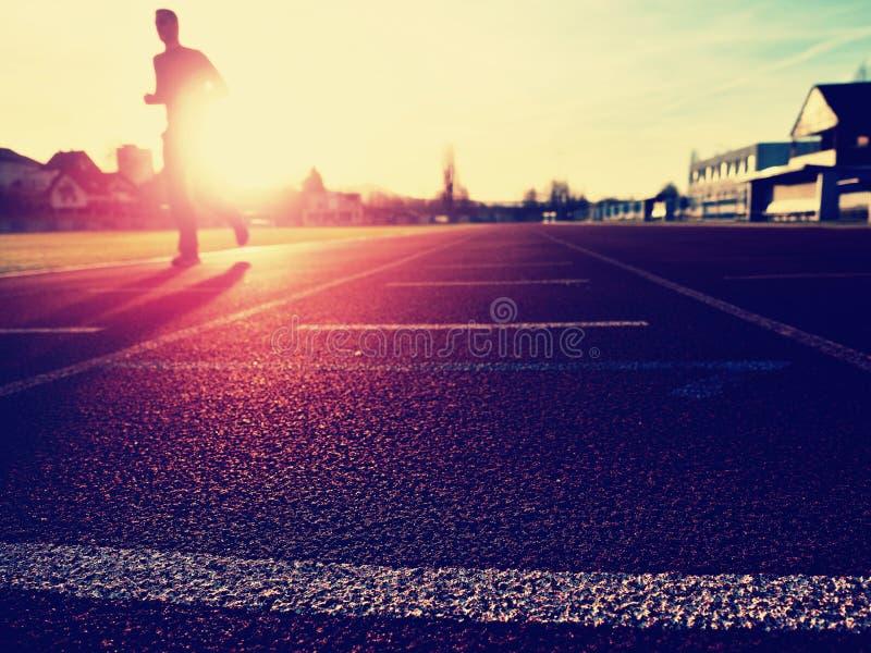 Высокорослый человек бежать на красной идущей беговой дорожке на стадионе стоковые изображения rf