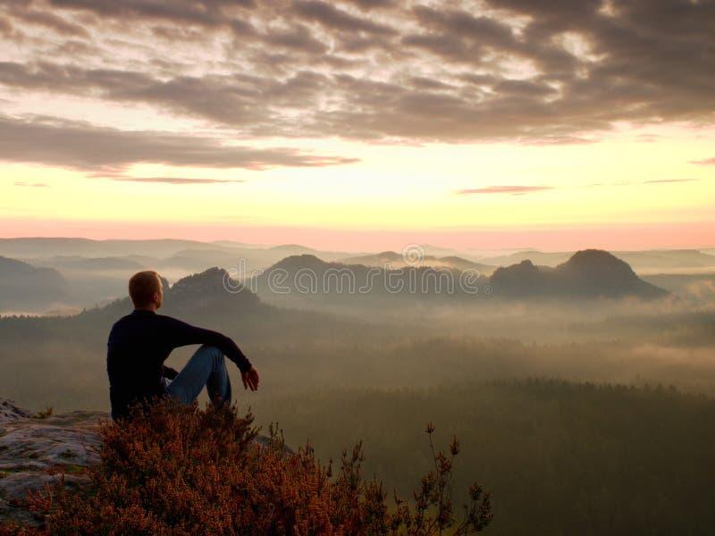 Высокорослый hiker в темной рубашке сидит на кустах вереска rockatn, наслаждается туманным пейзажем утра стоковые фото