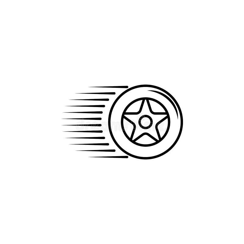высокоскоростной значок колеса Элемент гонок для передвижных концепции и значка apps сети Тонкая линия значок для дизайна и разви бесплатная иллюстрация