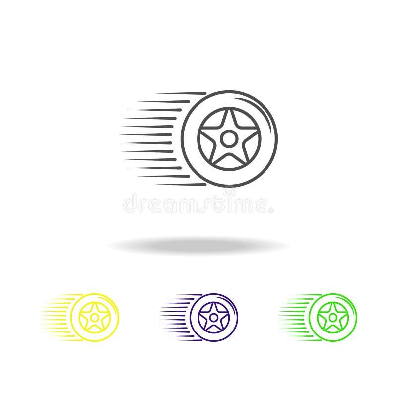 высокоскоростным значок покрашенный колесом Смогите быть использовано для сети, логотипа, мобильного приложения, UI, UX иллюстрация вектора