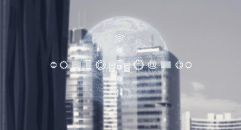 Высокотехнологичная модель глобального бизнеса Умная карта города и мира с обслуживаниями и значками, интернетом вещей, сетей, со стоковые фото