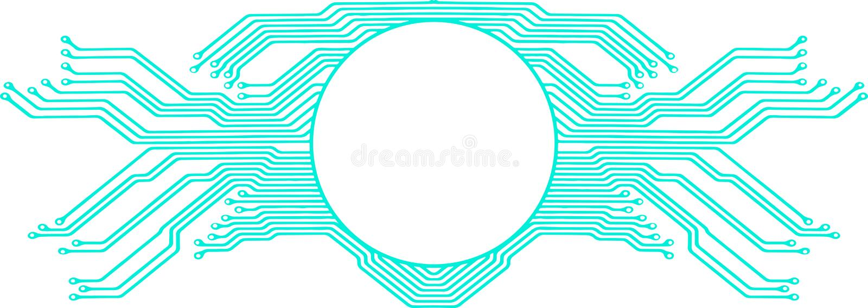 Высокотехнологичная рамка монтажной платы иллюстрация штока