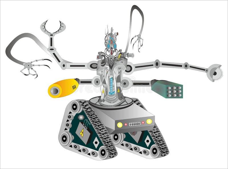 Высокотехнологичные военные роботы иллюстрация штока
