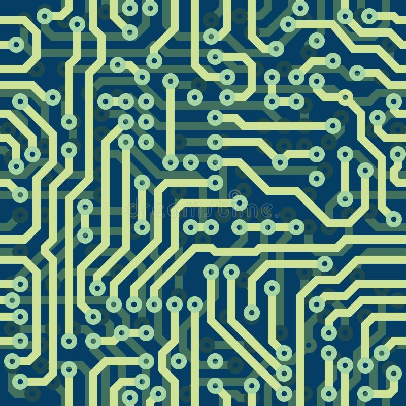 Высокотехнологичная схематическая безшовная текстура вектора - электрическая иллюстрация штока