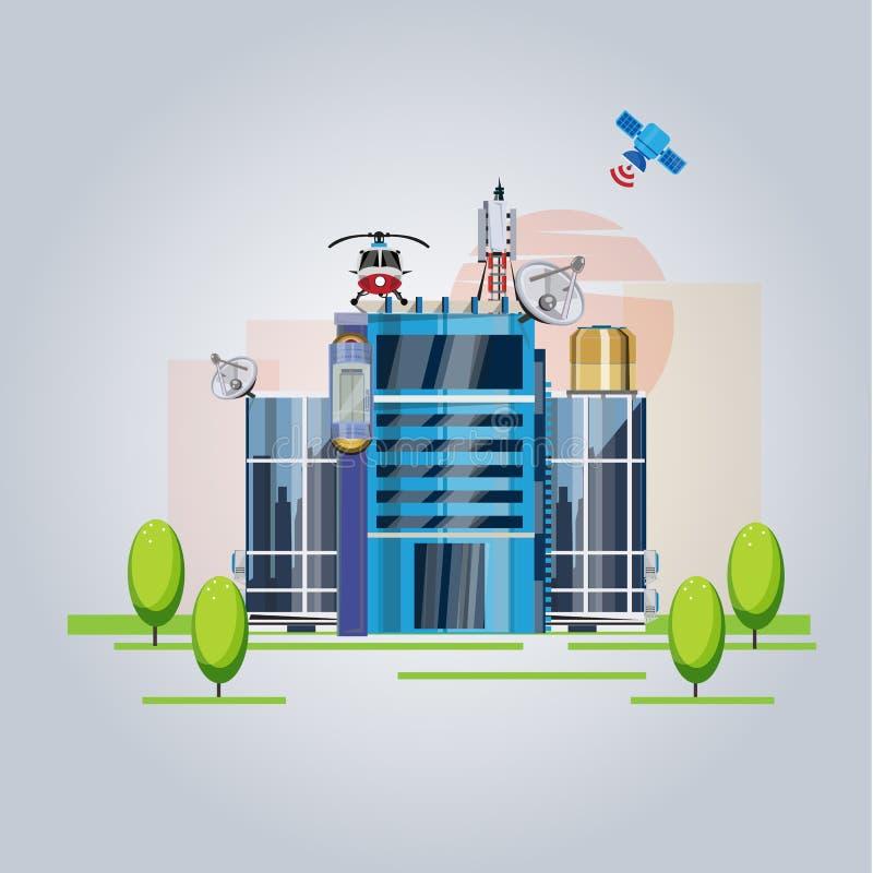 Высокотехнологичное здание будущая концепция с спутниковой системой - vecto иллюстрация вектора