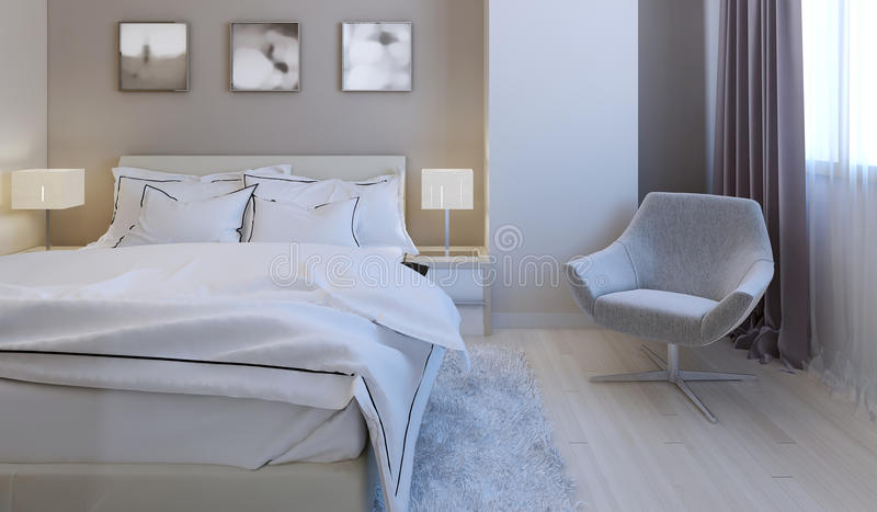 Высокотехнологичный дизайн спальни стоковое изображение