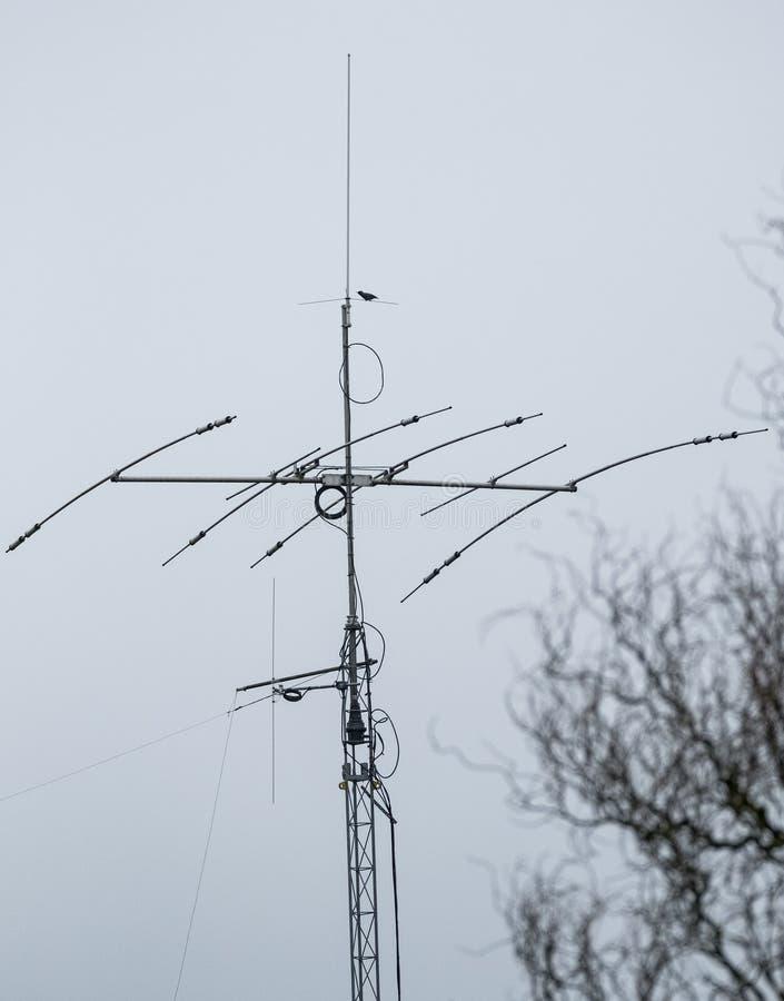 Высокочастотные антенны используемые как слушая столб и передатчик стоковые фотографии rf