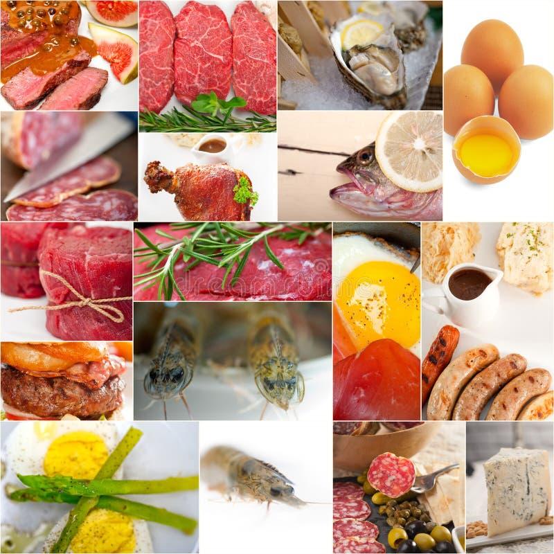Высоко- коллаж собрания еды протеина стоковое изображение rf