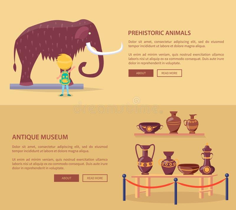 Выставка доисторических животных и греческих ваз бесплатная иллюстрация