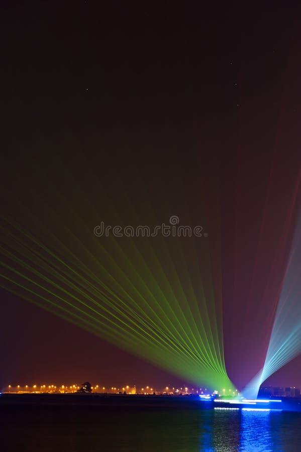 Выставка лазера от moving dhows стоковое фото