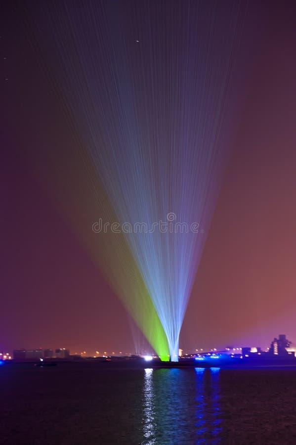 Выставка лазера от moving dhows стоковое изображение