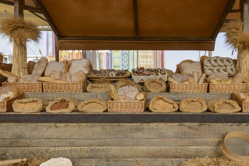 Выставка модель-макета еды на Decumano, ЭКСПО хлебопекарни Mila 2015 стоковое изображение rf