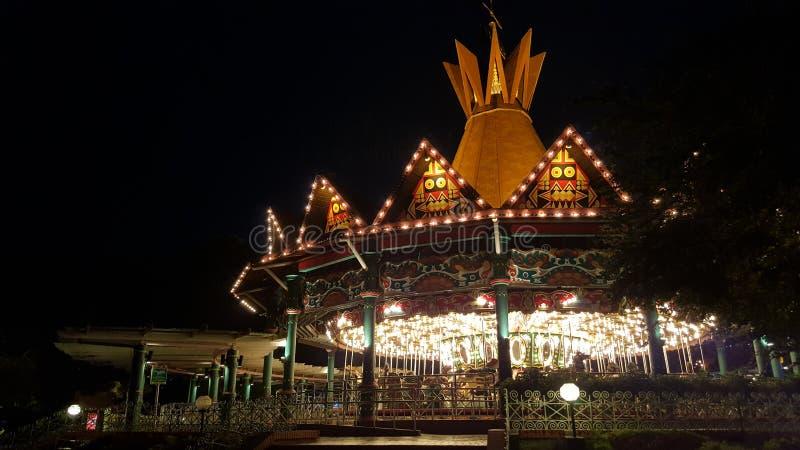 Выставка ночи Carousel стоковые изображения