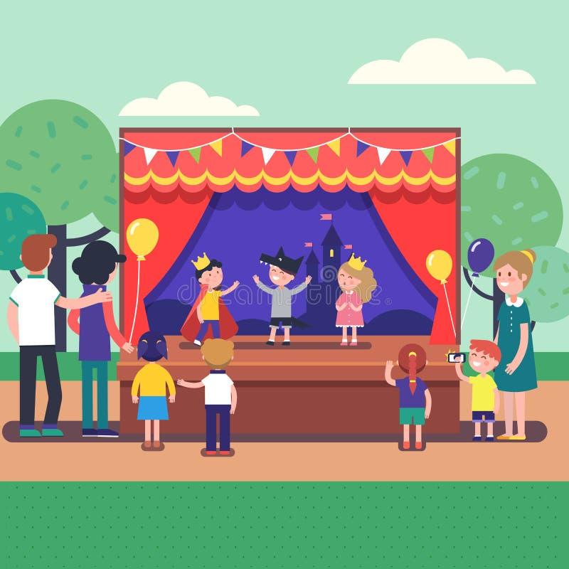 Выставка представления театра детей на сцене иллюстрация штока