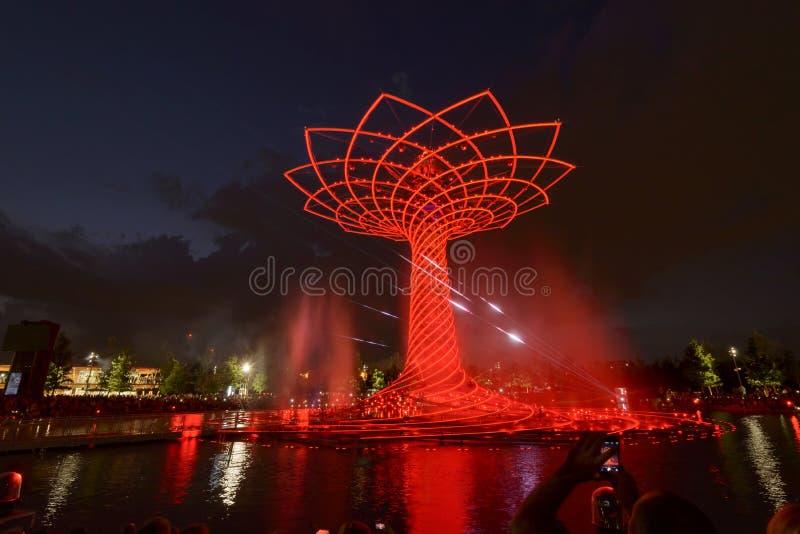 Выставка света ночи на дереве жизни 10, милан 2015 ЭКСПО стоковое фото