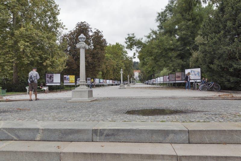 Выставка современного искусства в парке Tivoli ljubljana Словения стоковые фотографии rf
