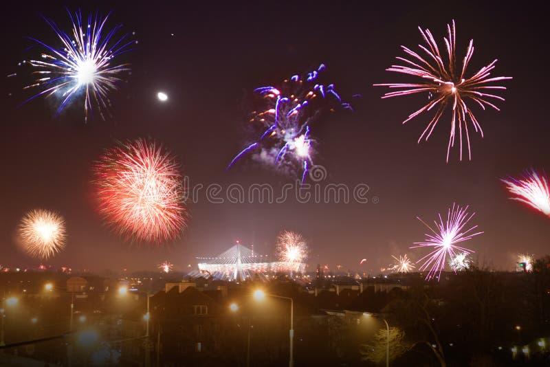 Выставка фейерверков на Новом Годе стоковое фото rf