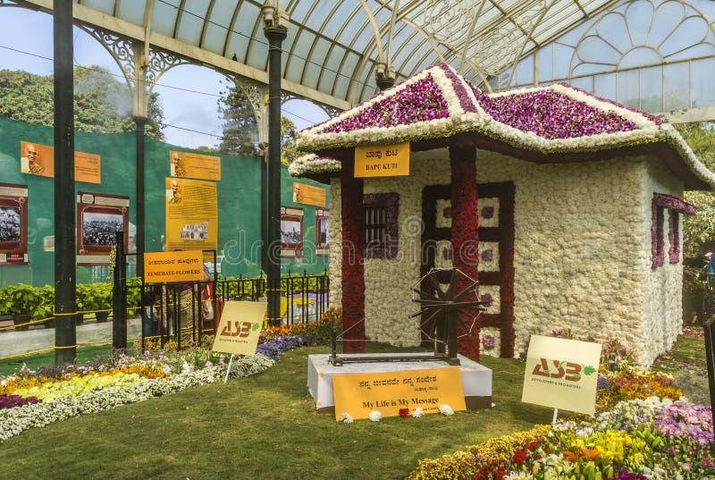 Выставка цветов январь 2019 Lalbagh - Ашрам Bapu Kuti Gandhiji стоковое изображение rf