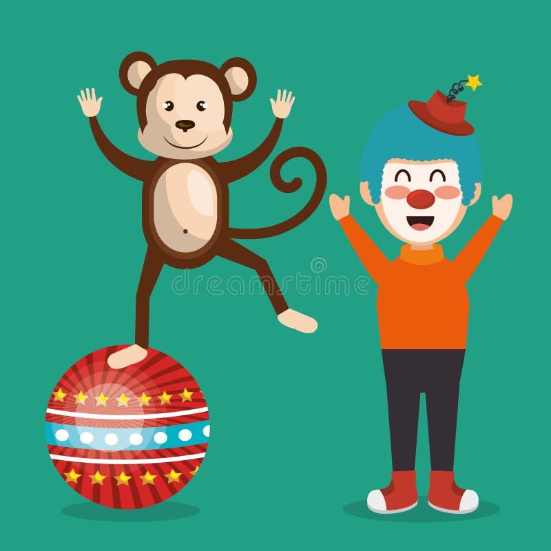 Выставка цирка обезьяны и клоуна бесплатная иллюстрация