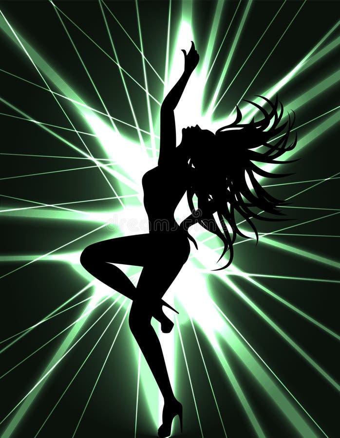 Выставка Go-go танцора и лазера иллюстрация штока