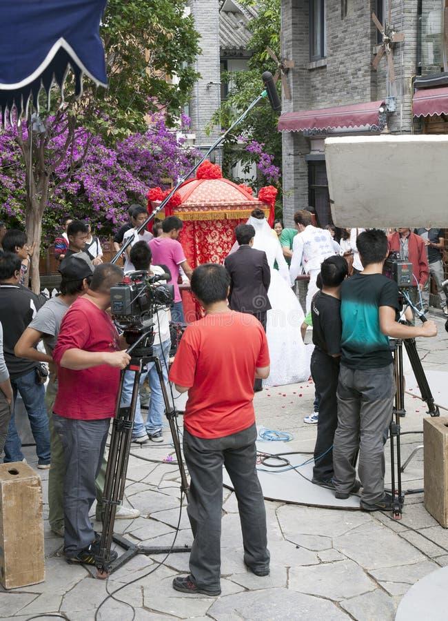 выставка tv киносъемки пленки экипажа фарфора стоковые изображения rf