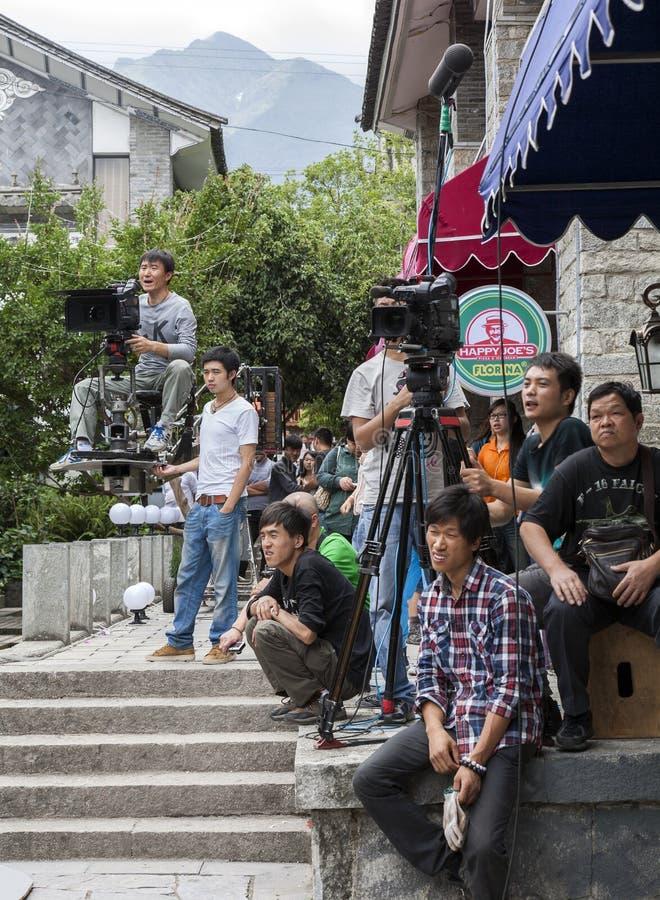 выставка tv киносъемки пленки экипажа фарфора стоковое фото rf