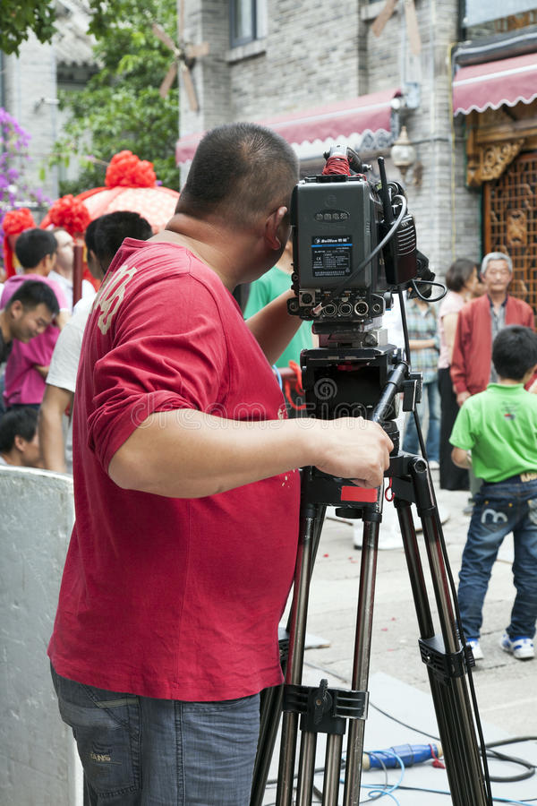 выставка tv киносъемки пленки экипажа фарфора стоковое изображение