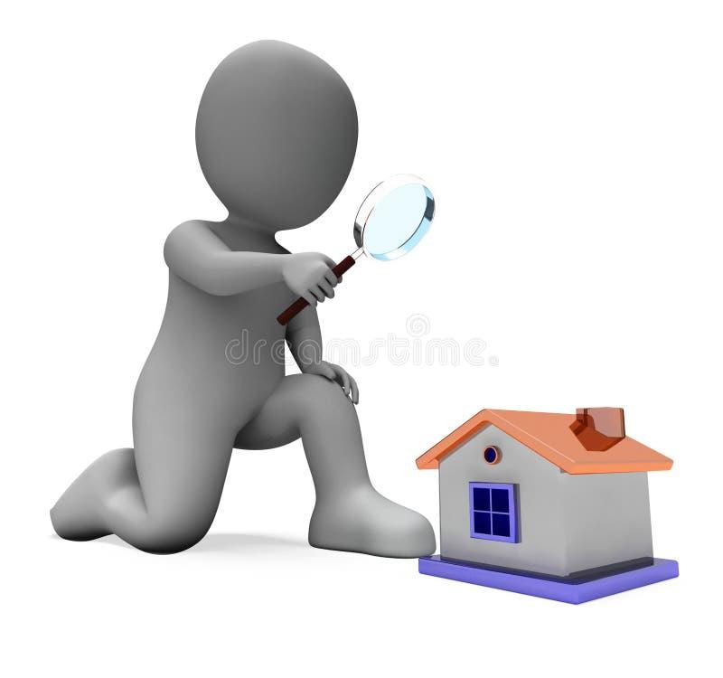 Выставки характера дома проверяют исследуя искать или искать иллюстрация штока