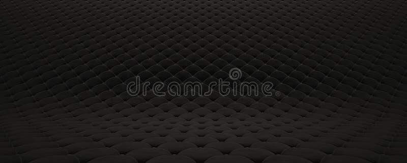 Выстеганная поверхность ткани Черный бархат и черная кожа Вариант 2 иллюстрация штока
