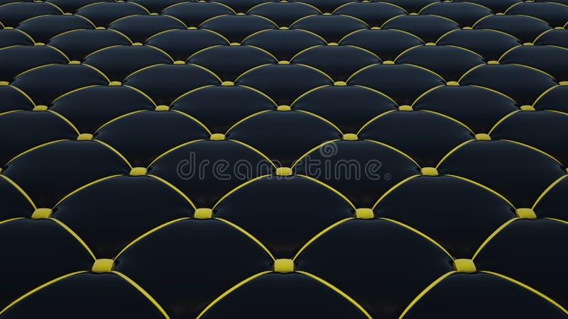 Выстеганная поверхность ткани Черный винил и желтый бархат Вариант 1 иллюстрация штока