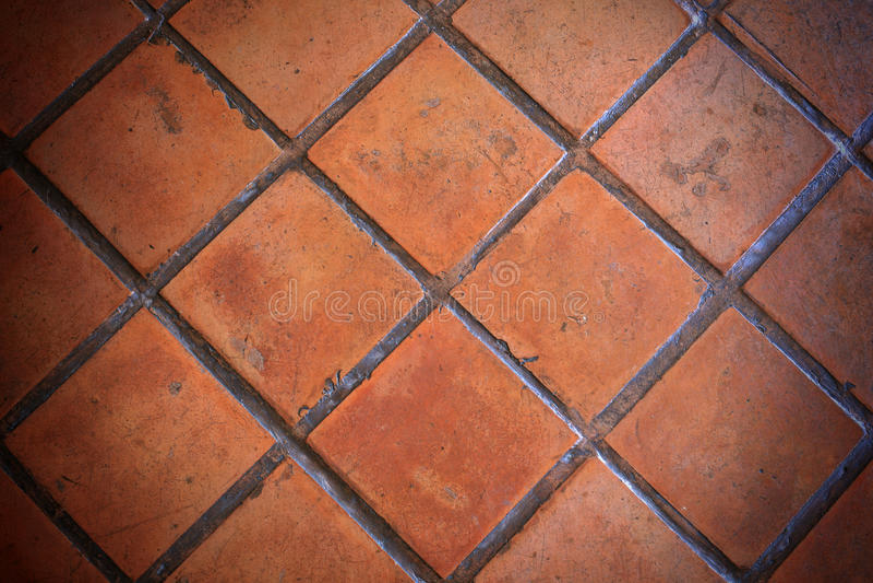 Выстилка плитки глины крупного плана померанцовая стоковые изображения rf