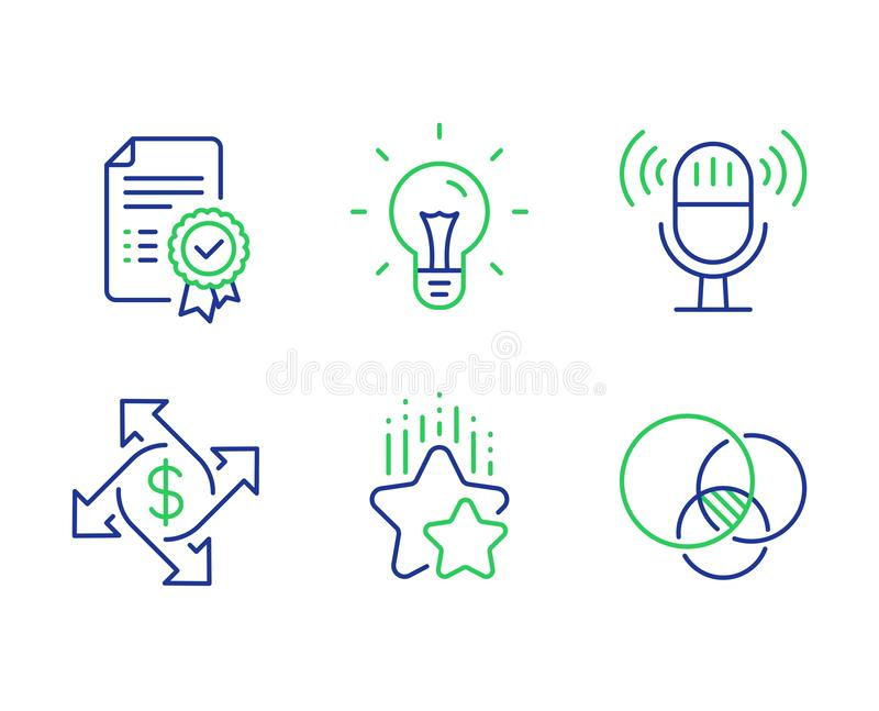 Выстраивая в ряд звезды, обмен оплаты и значки микрофона набор Знаки диаграммы сертификата, идеи и Euler r иллюстрация штока