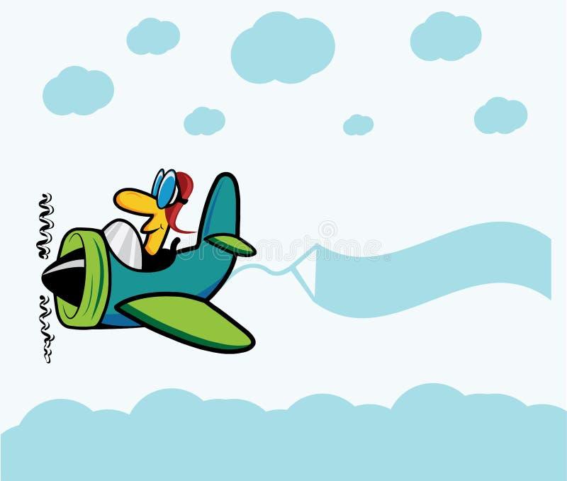 выстрогайте с пилотом, облаками и знаменем рекламы иллюстрация штока