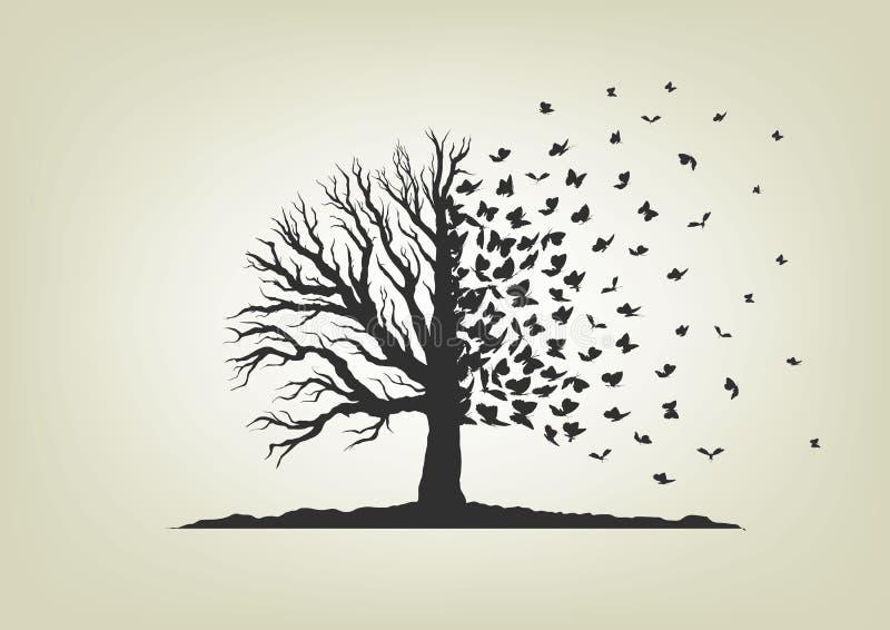 Высушенное дерево при ветви летая бабочки иллюстрация штока