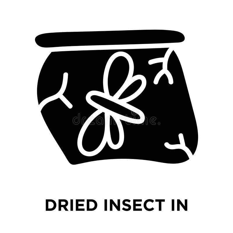 Высушенное насекомое в янтарном векторе значка изолированное на белой предпосылке, иллюстрация штока
