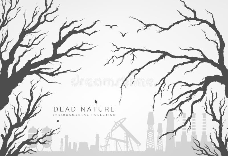 Высушенные ветви деревьев с мельницами и фабриками иллюстрация штока