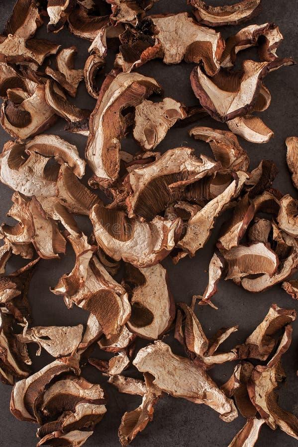 Высушенные грибы на серой предпосылке стоковое изображение