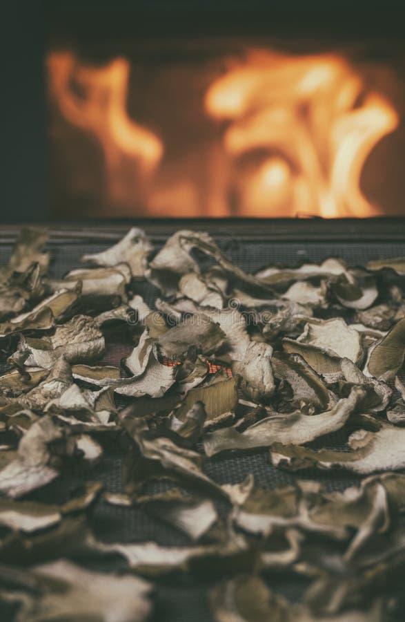 Высушенные грибы на таблице на камине на предпосылке с огнем Хранение высушенных грибов Грибы близко увольняют в зимнем времени стоковые изображения