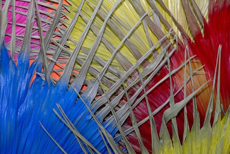 Высушенные розовое желтого цвета лист красное и голубой для предпосылки стоковые изображения rf