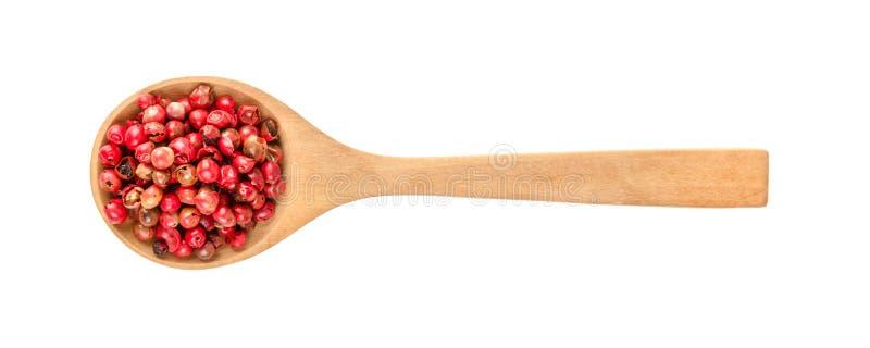 Высушенные розовые перцы в деревянной ложке изолированной на белой предпосылке стоковая фотография