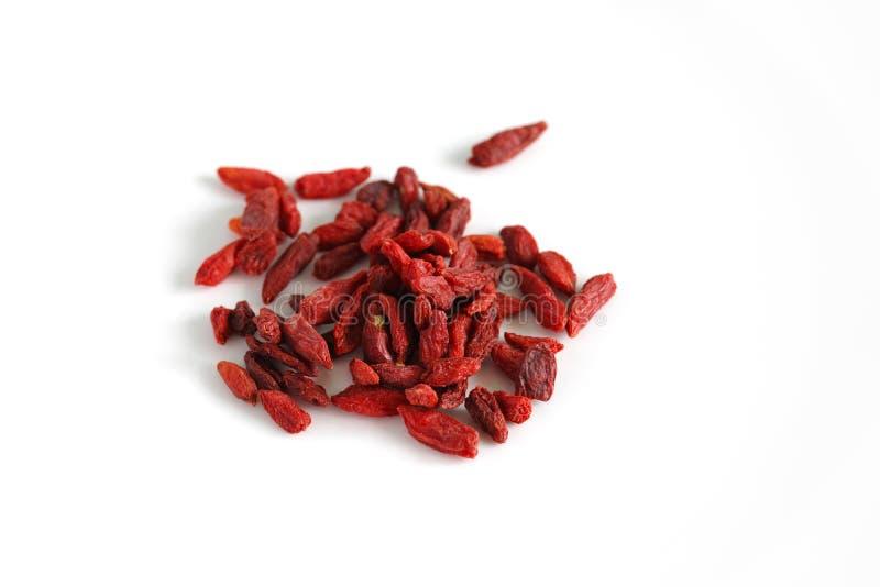 Высушенный плодоовощ ягод Goji на белизне стоковое изображение