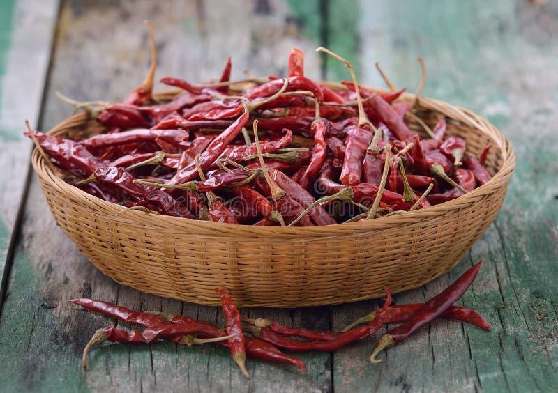 Высушенный chili в корзине стоковая фотография rf