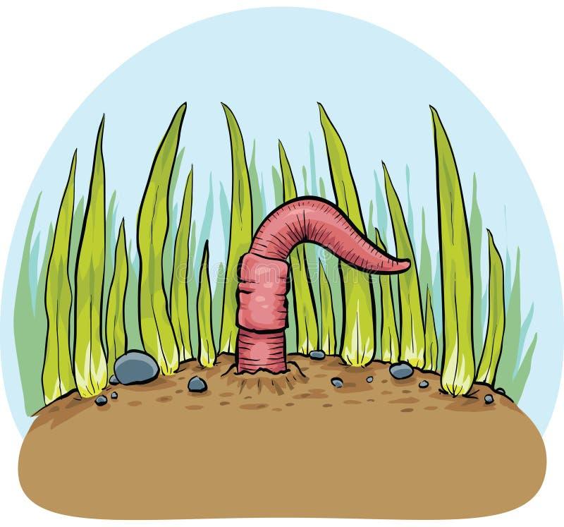 Вытекая Earthworm иллюстрация вектора